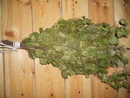 Веник для бани берёзовый с тысячелистником, большой